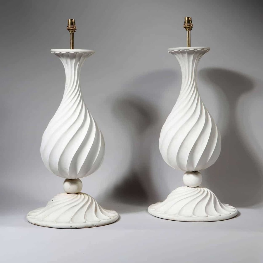 A Pair of Spiral Baluster Lamps