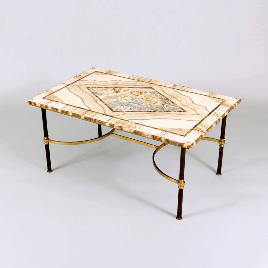 Exceptional & Rare Mid Century Italian Alabastro Di Polombara, Gibraltar Stone & Brass Cocktail Or Coffee Table, Circa 1955