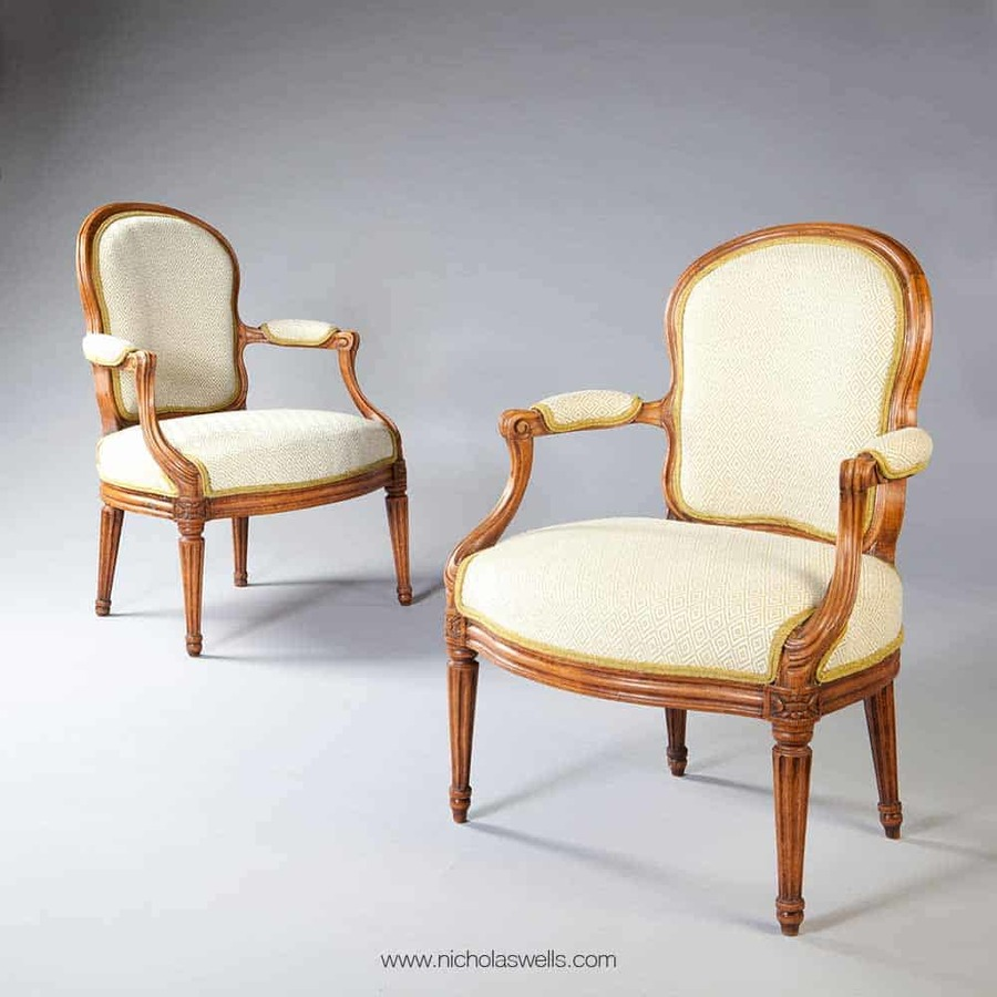 A Pair Of Louis Xv Transitional Fauteuils Stamped N S Courtois