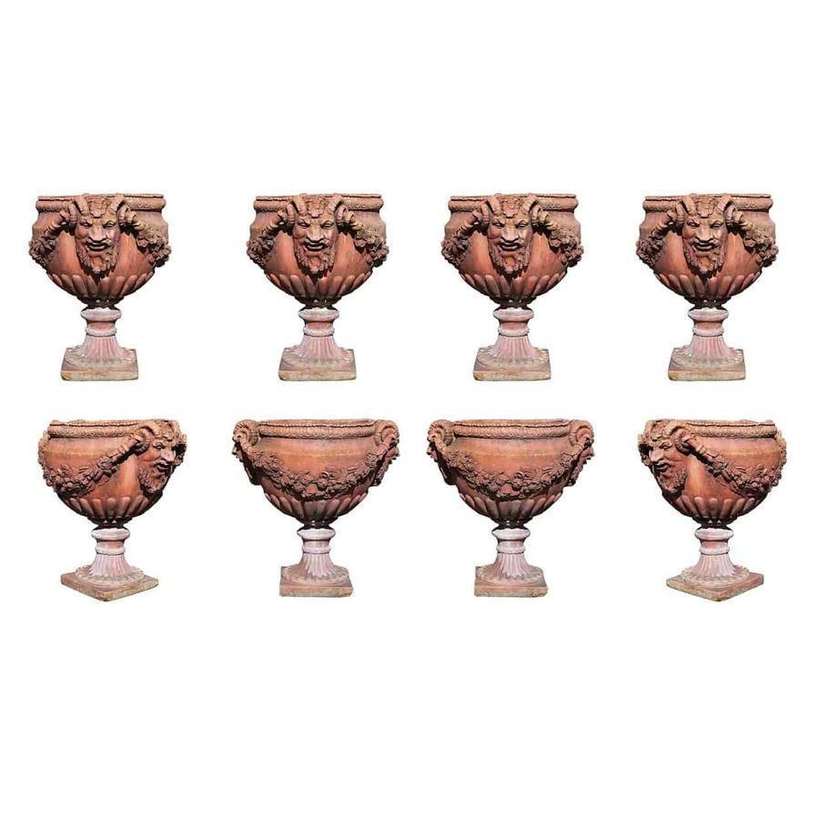 Victorian Collection of 8 terracotta garden pots