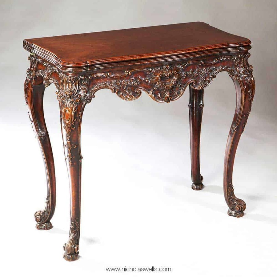 Rococo Chippendale Mahogany Card Table