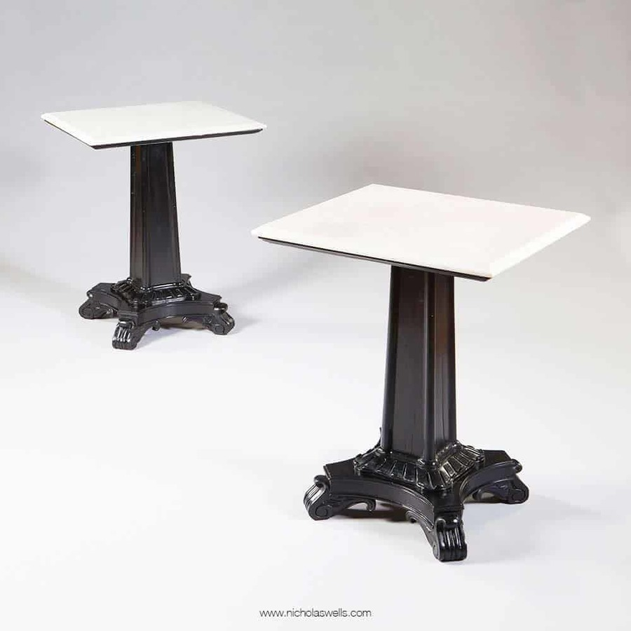 Pair Of Ebonised Pedestal End Tables