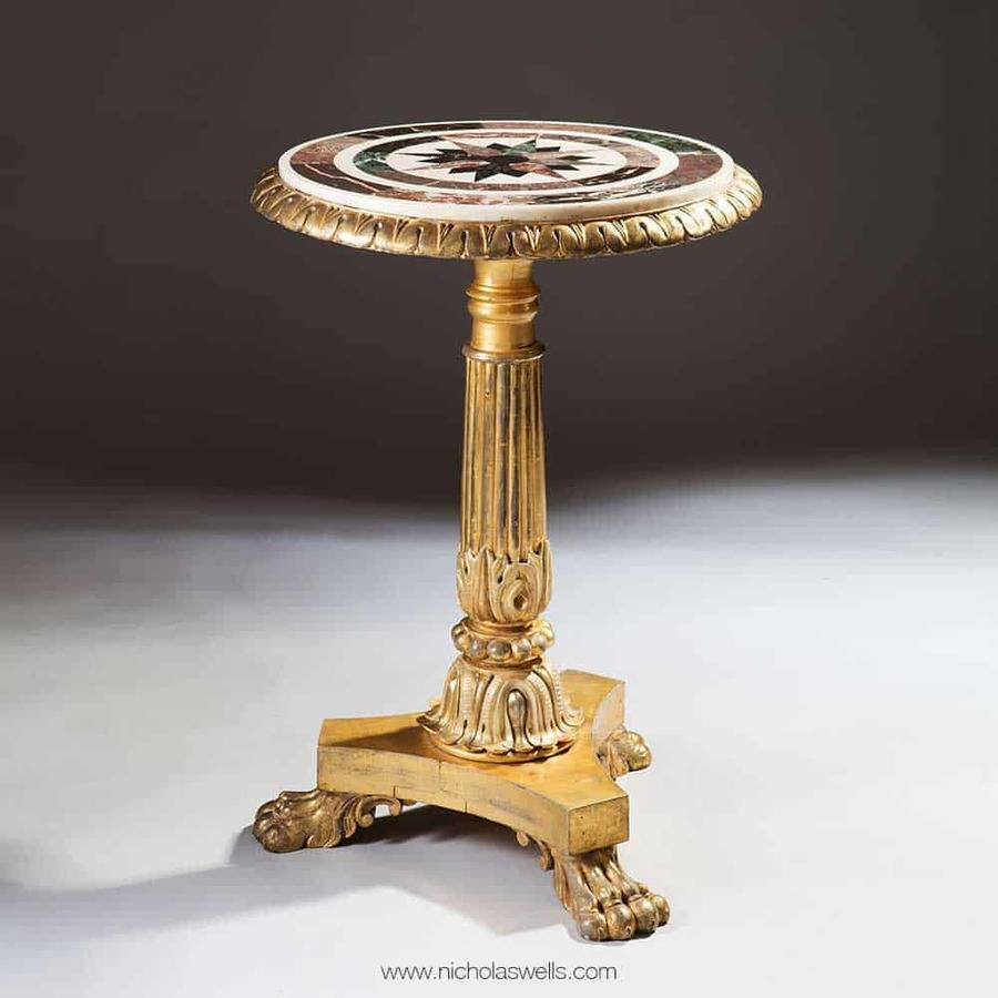 William Iv Giltwood And Pietra Dure Occasional Table