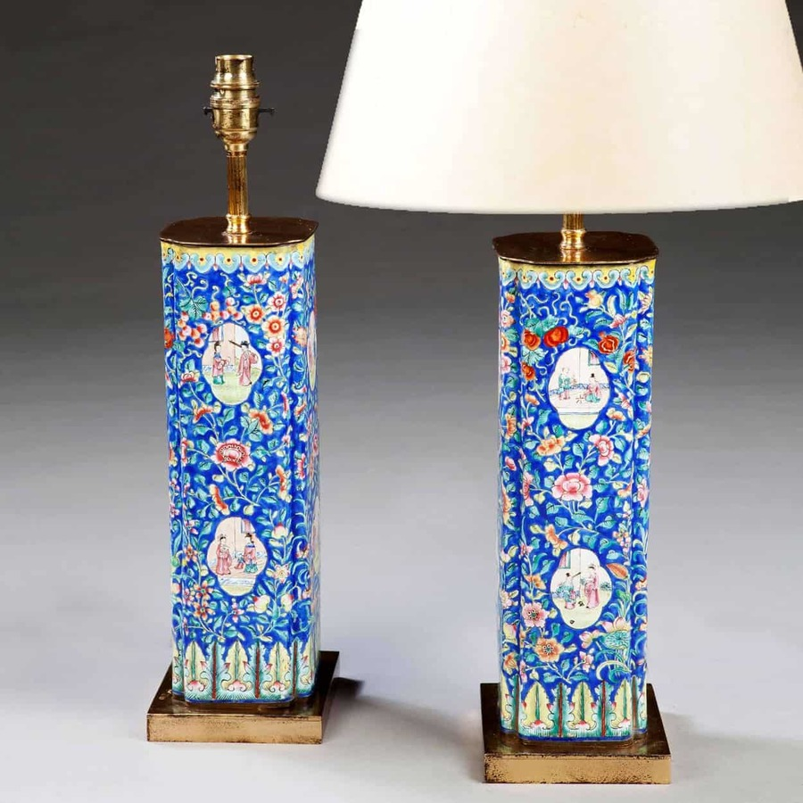 A Rare Pair Of Chinese Export Canton Enamel Vases As Lamps