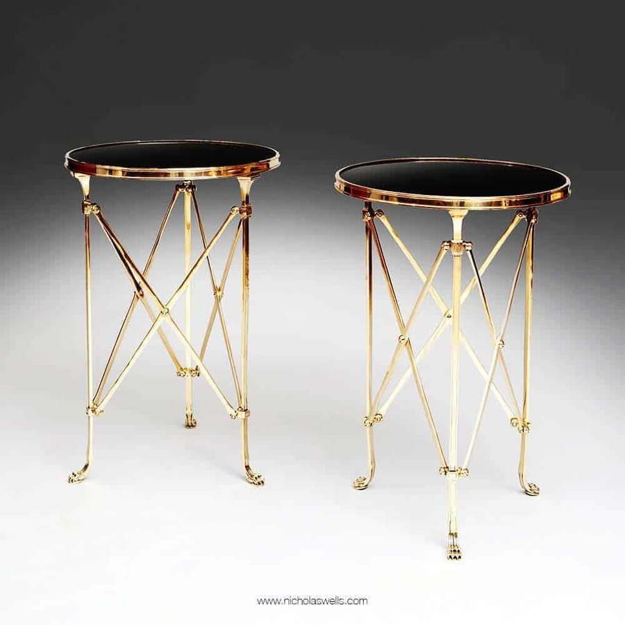 A Pair Of Mid 20Th Century Polished Brass And Marble Lamp / End Tables