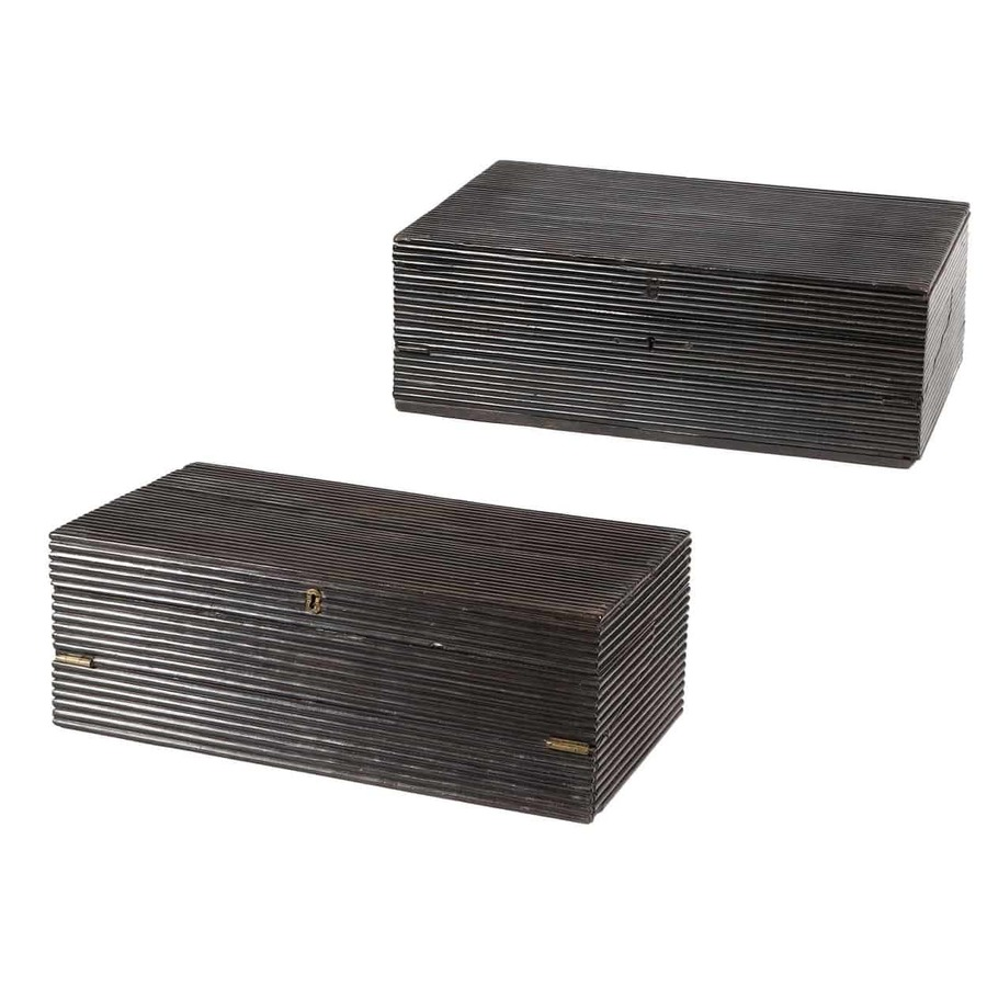 Indian Reeded Ebony Writing Box and Another Similar