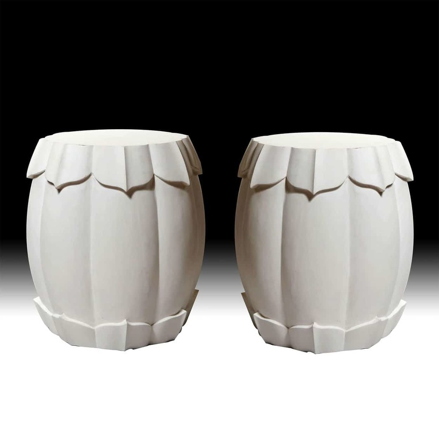 Pair of Large White Painted Lotus Flower Stools / Side Tables