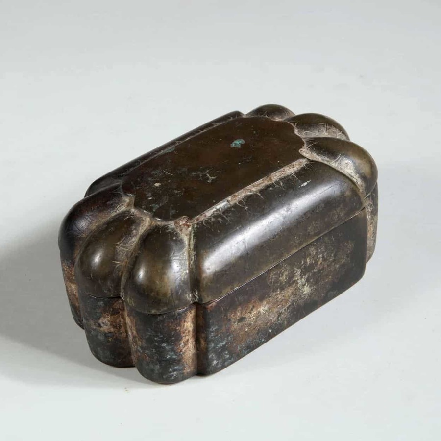 19th Century Patinated Bronze Indian Box