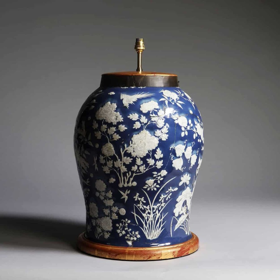 Massive Chinese Blue and White Vase Lamp