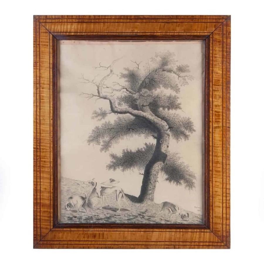 Early 19th C Drawing Of A Tree With Dogs