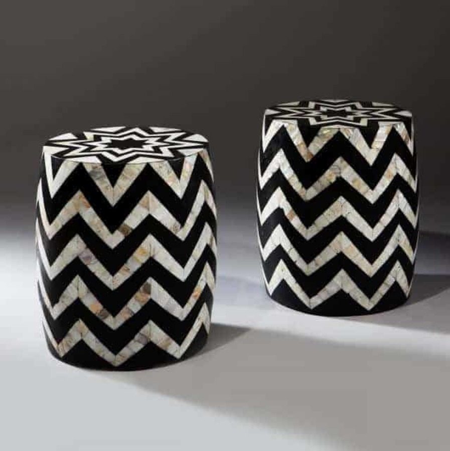 Mother Of Pearl Inlaid Zig Zag Stools