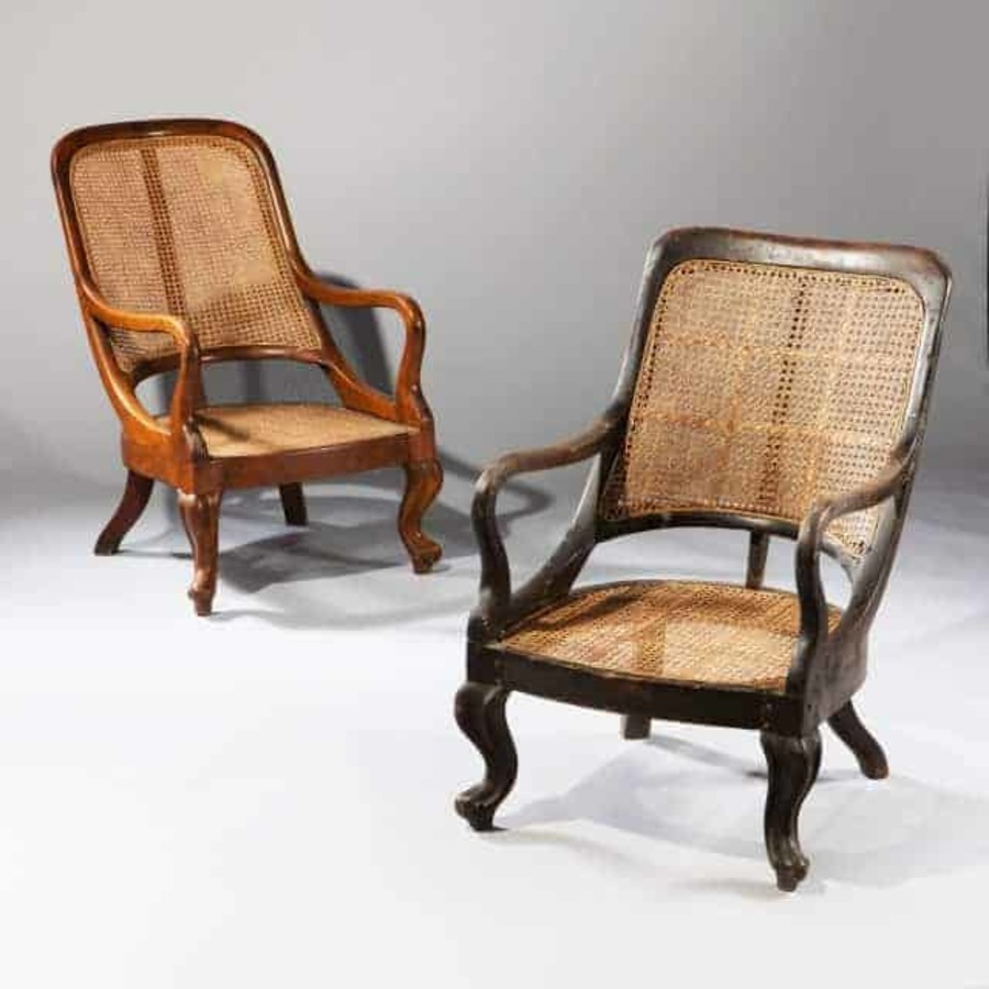 Two Spoon Back Indian Armchairs