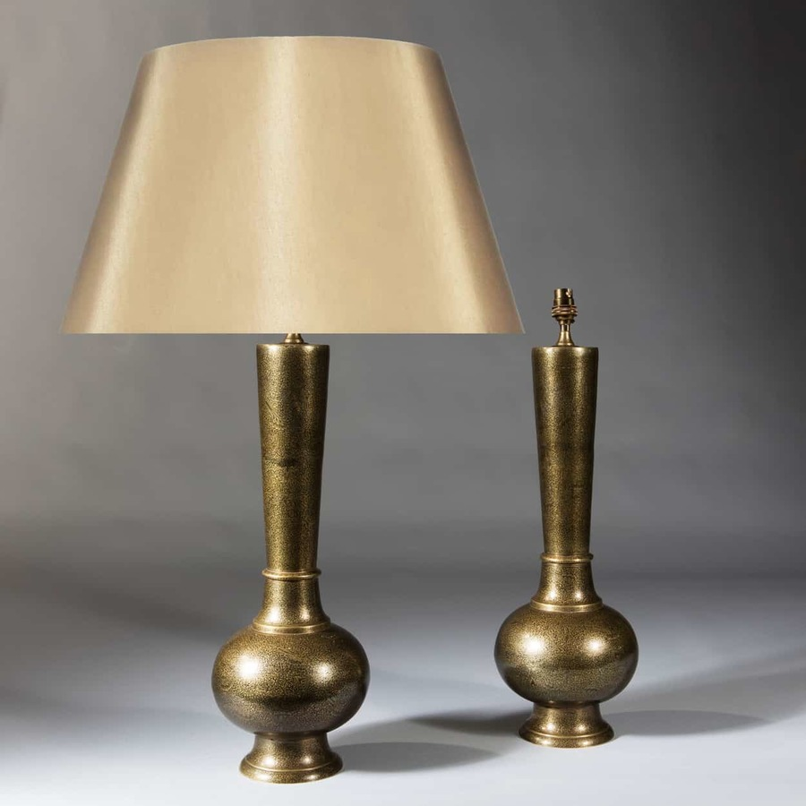 Pair Of Mogul Style Damascened Brass Lamps