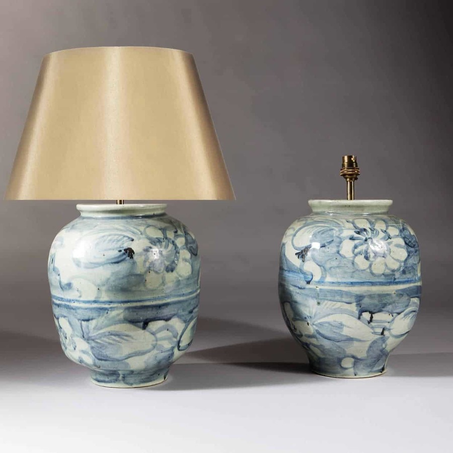 Pair Of Chinese Porcelain Blue And White Vases As Lamps