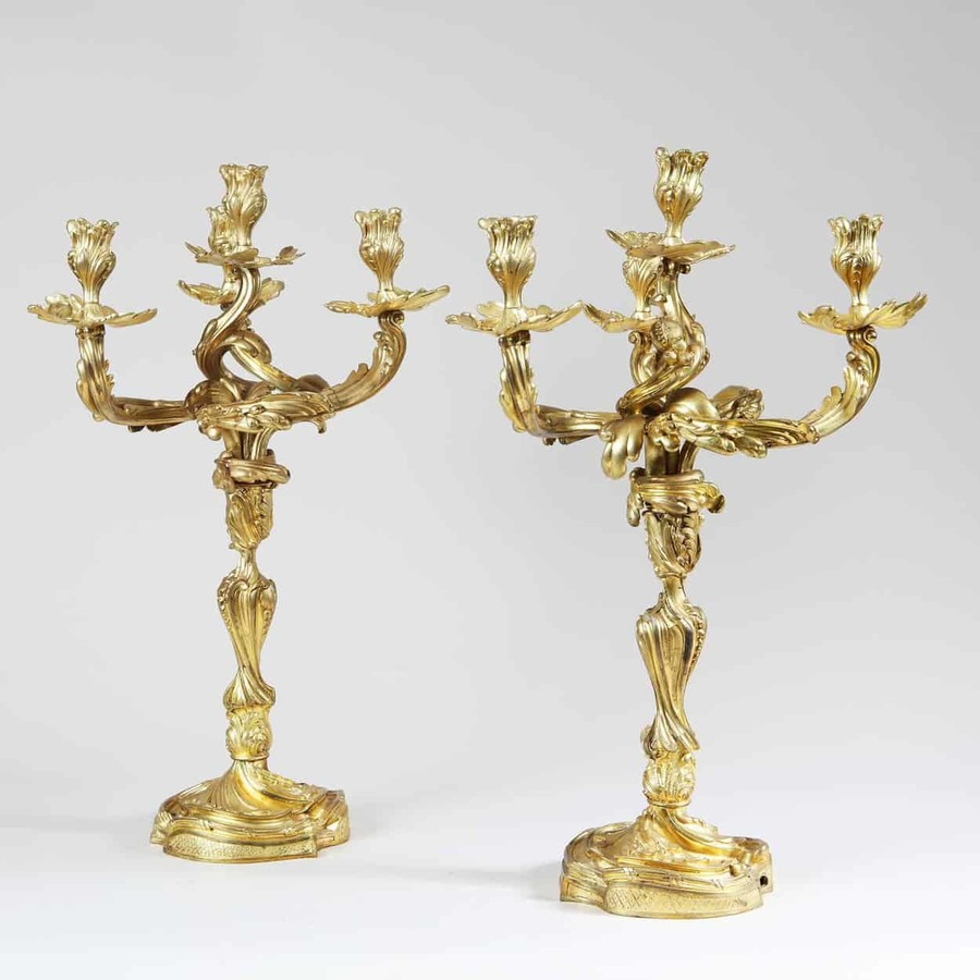 Pair of Louis XV Style Four-Light Ormolu Candelabra