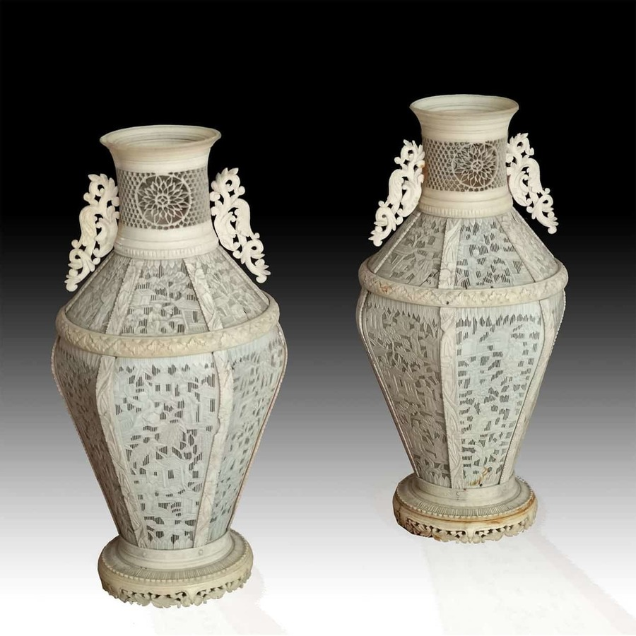 Pair of 19th Century Canton Ivory Vases