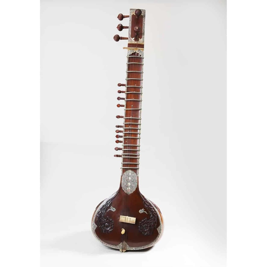 Indian Sitar with Bone Inlay and Carved Rosewood