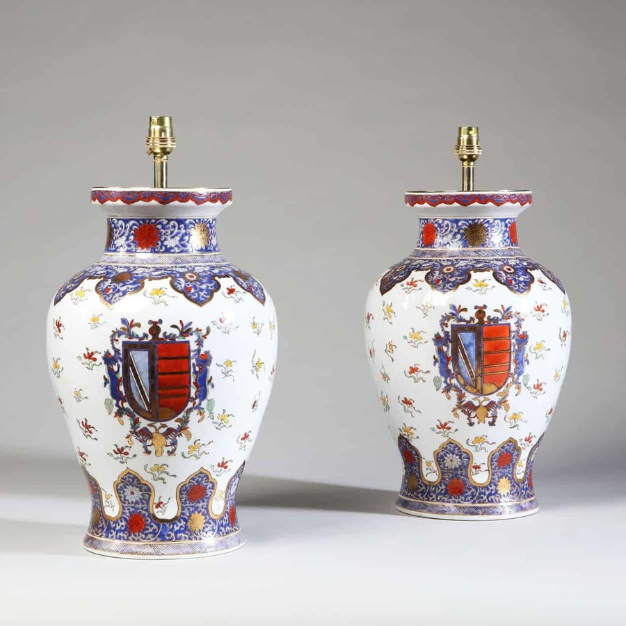 Pair of Samson Porcelain Vases Mounted as Lamps