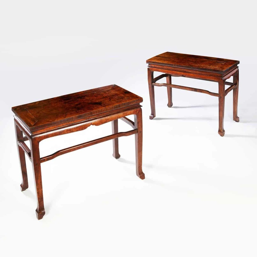 Pair of Chinese Longyanmu Ming Style Side Tables