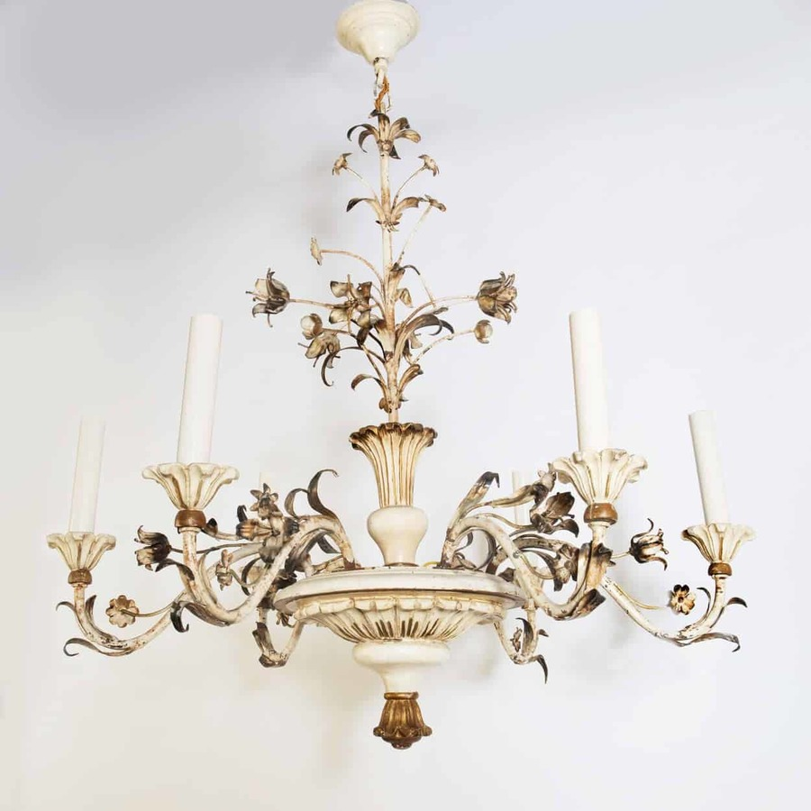 A painted wood and tole chandelier