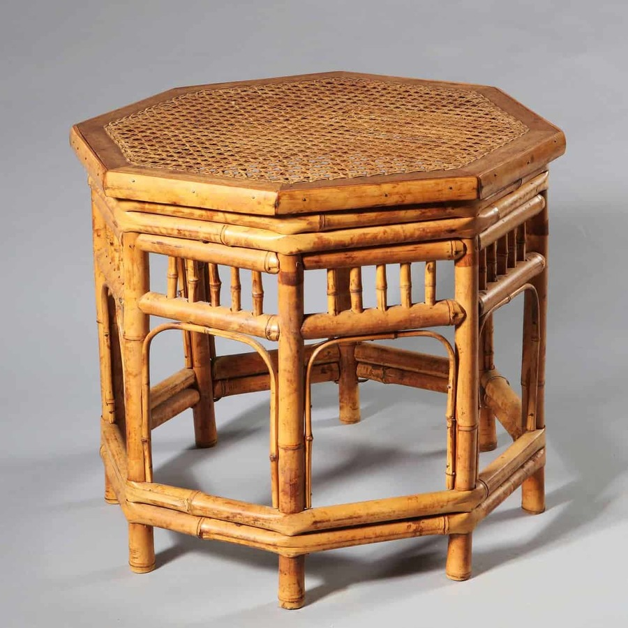 Regency Brighton Pavilion Style Hexagonal Bamboo Occasional Table