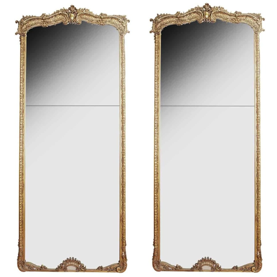 Pair of Large 10ft Tall Full Length French Louis XV Antique Gold Gilt Pier Mirrors