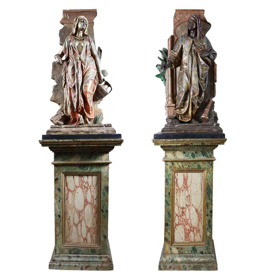 Pair of Orientalist Spelter Statues By Anatole J. Guillot (1865-1911)