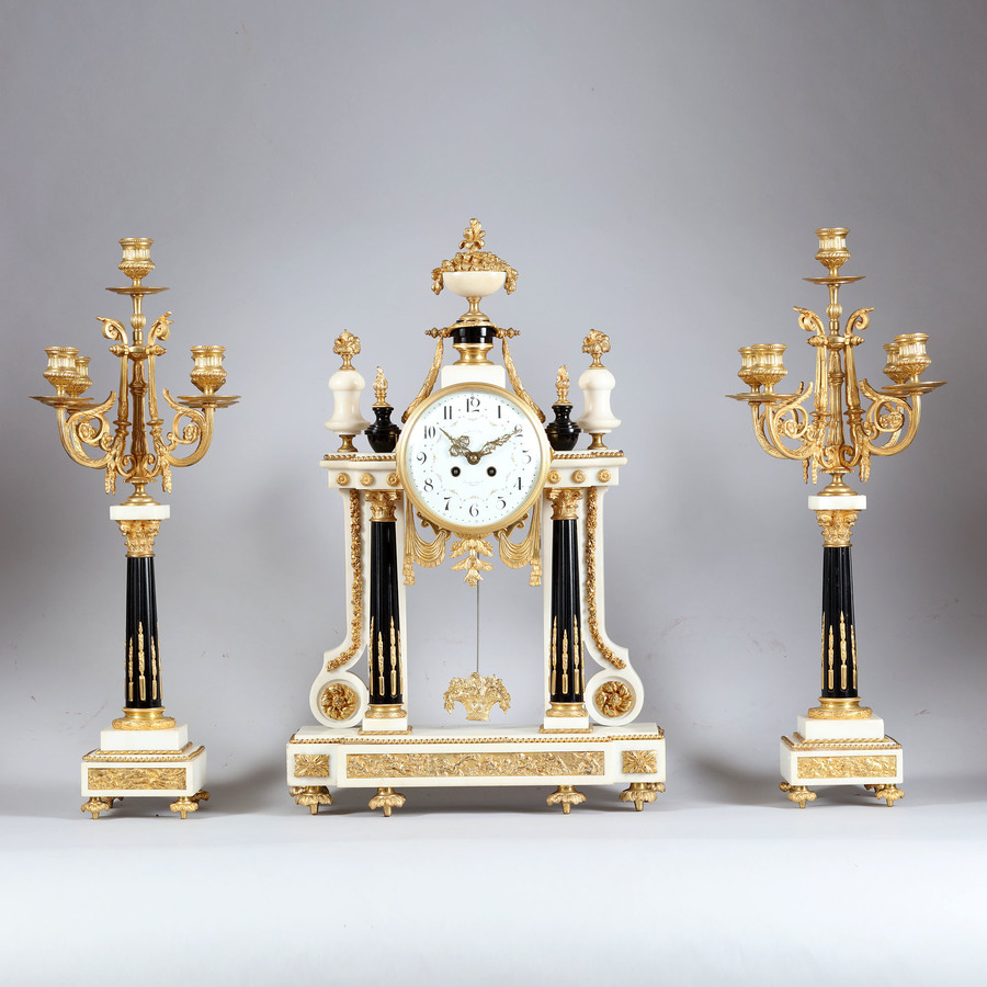 Statuary Marble and Blue Porcelain Clock Garniture with Ormolu Mounts