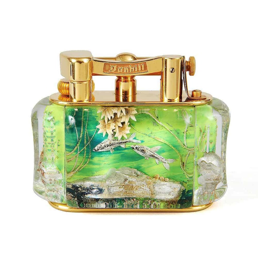 Sold Gold Plated Half Giant Dunhill Aquarium Table Lighters