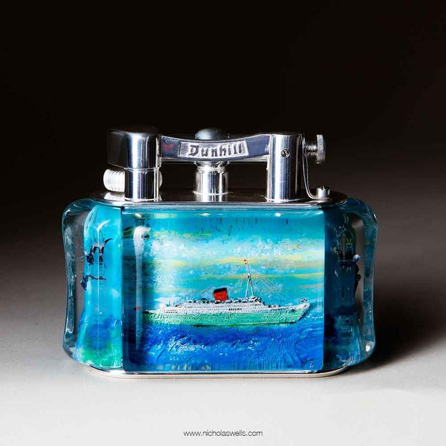 Sold Half Giant Dunhill Ship Aquarium Table Lighter