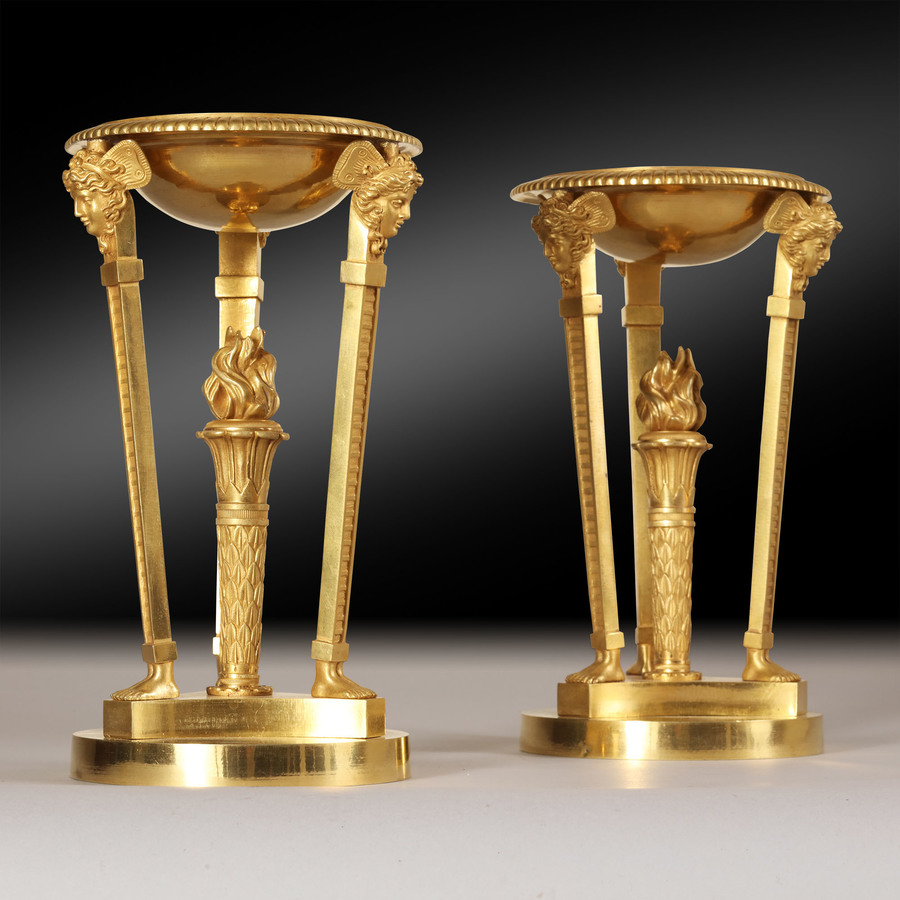 Pair of French Empire Gilt Bronze Brûle Parfums