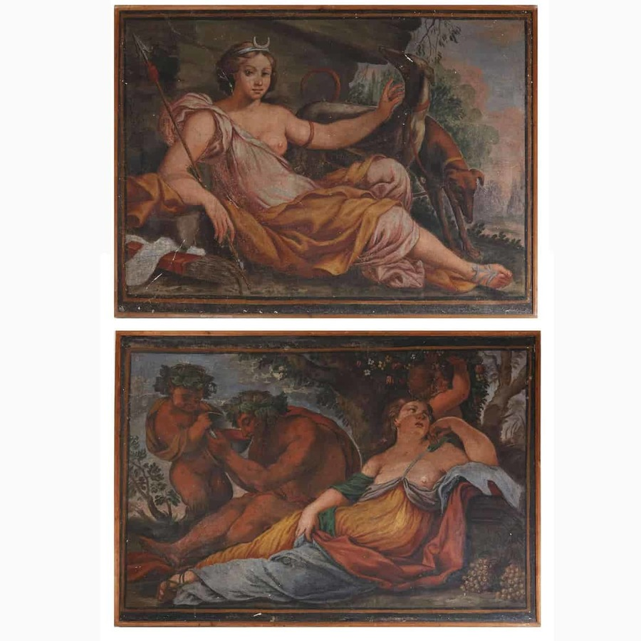 Pair of 16th Century Hunting Lodge Fresco Panels of Diana, Bacchus and Ariadne