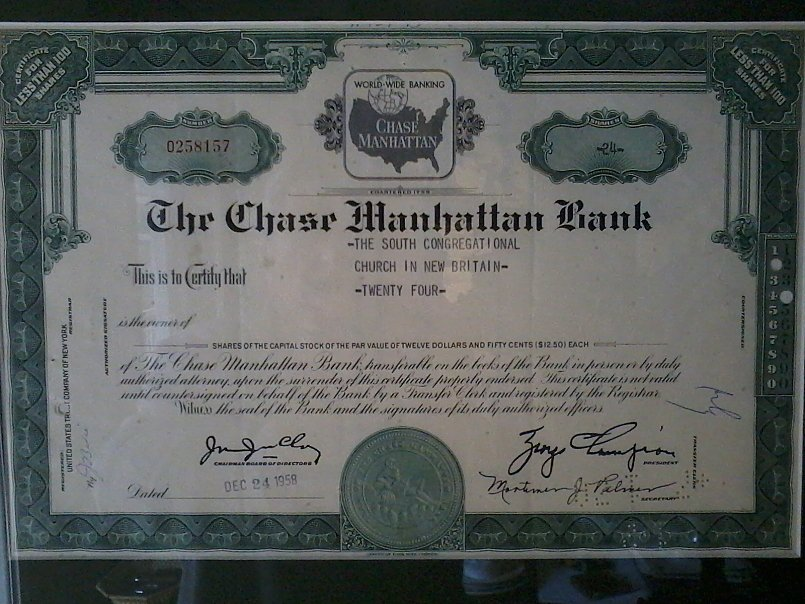 Antique Chase Manhattan Bank Stock Certificate