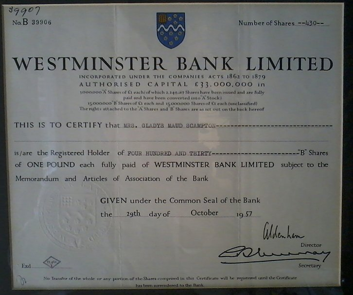 Westminster Bank Stock Certificate.