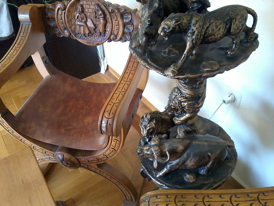 Antique Set of 2 Renaissance Revival Armchairs, Coffee table and Floor Lamp.