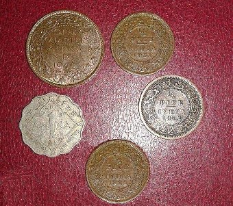 Antique Indian antique coins (1862 to 1944) of various denominations !
