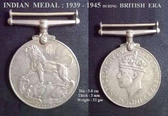 Antique Vintage Medals of WORLD WAR II  during British Era !!