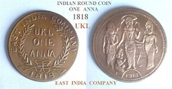 Antique Antique Collectable originals ~ Indian coins 1818 & 1944