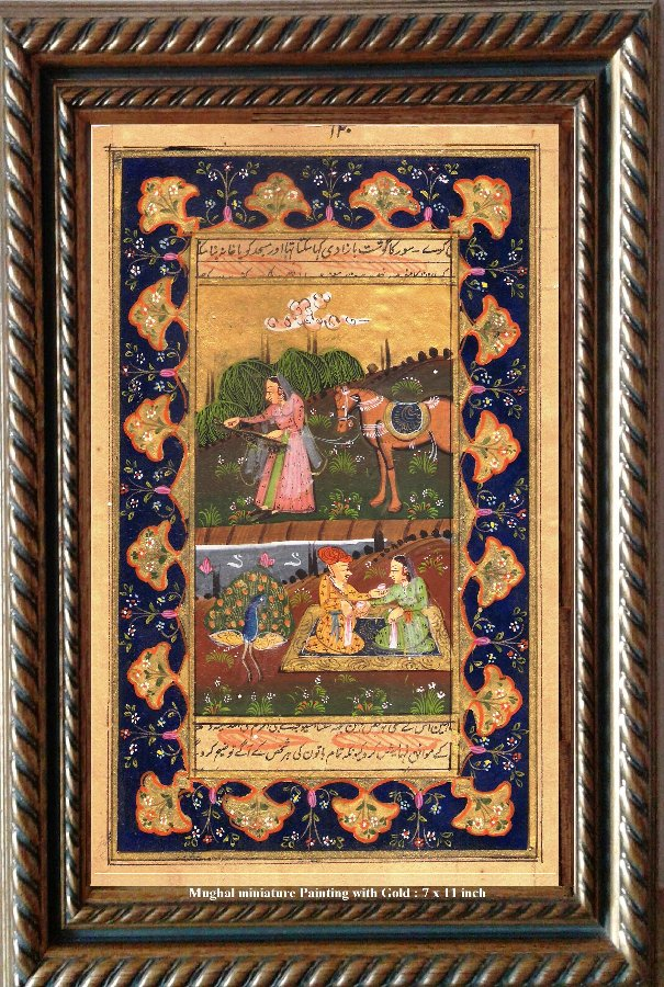 Miniature Antique Painting on paper with Gold