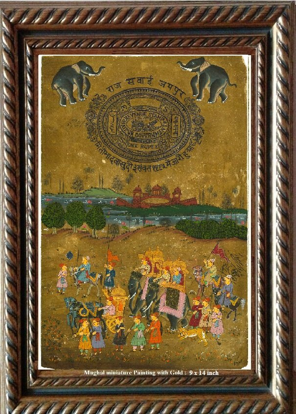 Antique Miniature Antique Painting on paper with Gold