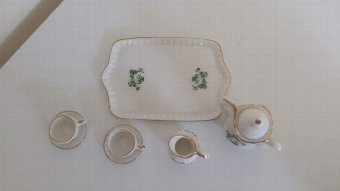 Antique Lefton white clover miniature tea set