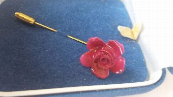 Antique Red rose aynsley brooch
