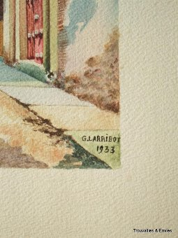 Antique WATERCOLOUR SIGNED G. LARRIBOT  193