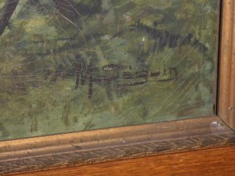 "Antique 19th painting ""Birds"" signed M. SEGUIN"