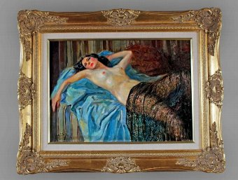 Antique ART DECO PERIOD OIL ON PANEL BY YVES DIEY