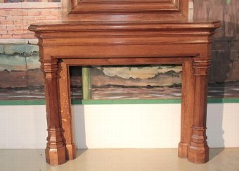 Antique OAK FIREPLACE AND MIRROR