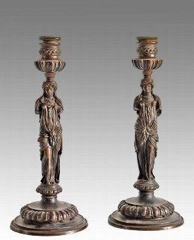Antique PAIR OF BRONZE CANDLESTICKS BY F. BARBEDIENNE