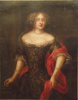 Antique Large portrait of Lady of the nobility of the 17th century. Epoque Louis XIV. Coat of arms