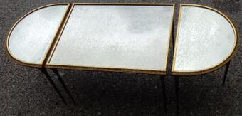 Antique 1970's Maison Charles ,Jansen Or Bagués Golden Brass Tripartite Table Palm Tree Deco With Mirror Trays
