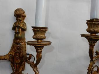 Antique 1880 'Pair of Bronze Sconces Children Playing 2 Trumpets Model by Jean HAURE